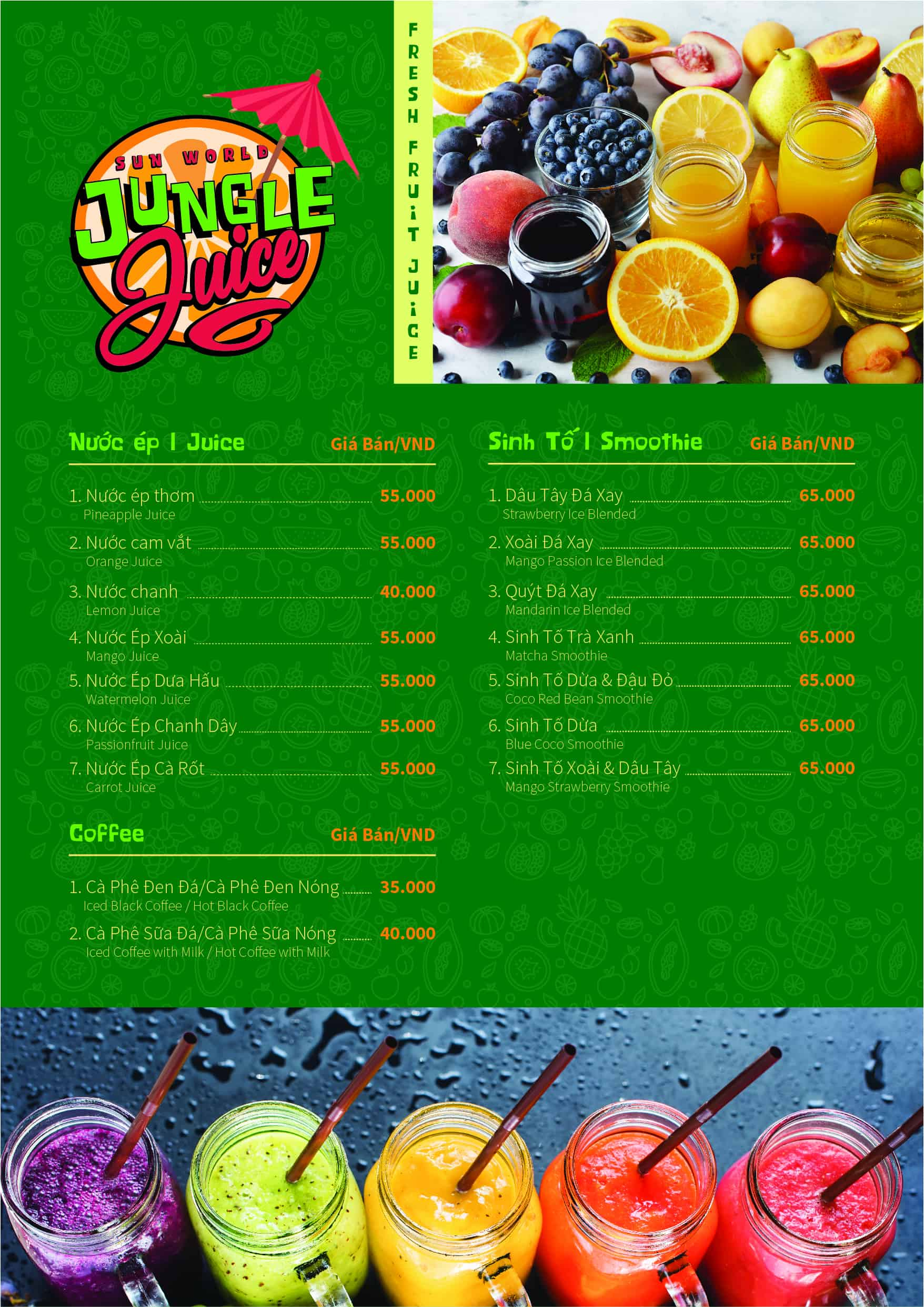 Menu Jungle Juice